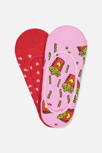 Novelty Hidden Sock, FRIES & HEARTS