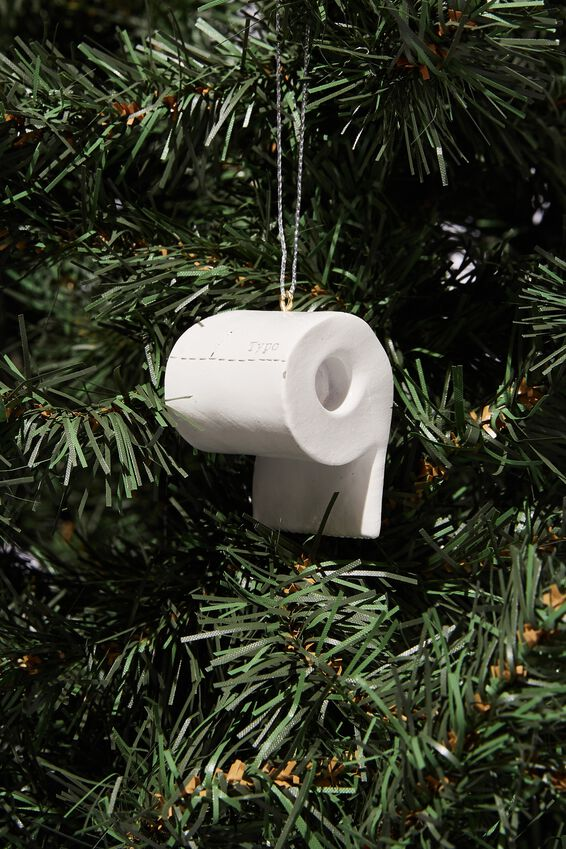 Resin Christmas Ornament, NO SHITS TOILET PAPER!