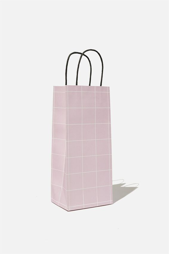 Bottle Gift Bag, HEATHER GRID