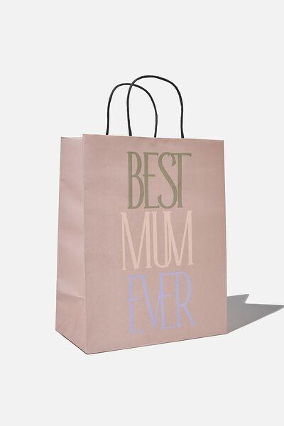 Get Stuffed Gift Bag - Medium, BEST MUM EVER NUDIE PINK