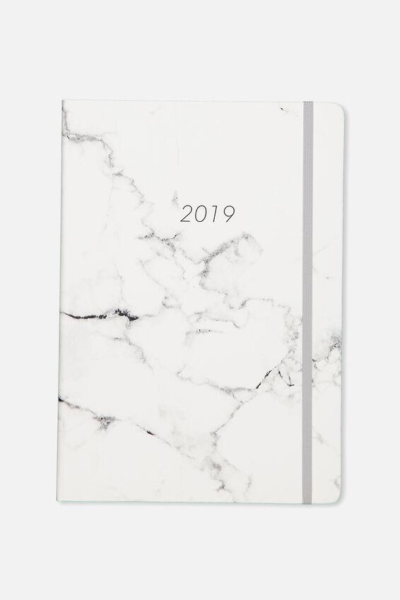 2019 A4 Weekly Buffalo Diary, GREY MARBLE