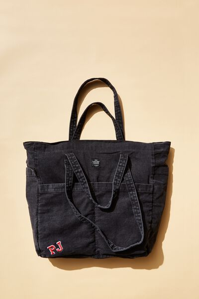 Personalised Studio Tote, WASHED BLACK
