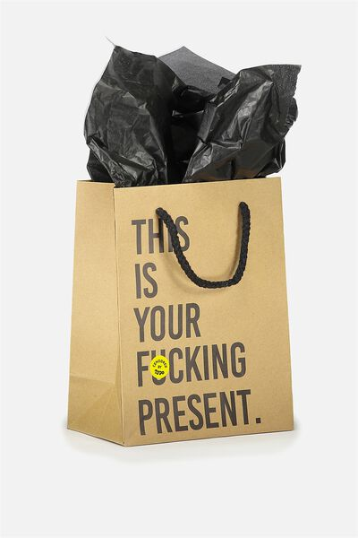 Stuff It Gift Bag Small With Tissue Paper, KRAFT THIS IS YOUR PRESENT !!