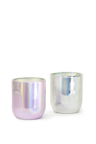 Large Twin Set Of Candles, SILVER PURPLE
