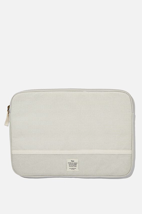 Canvas 13 Inch Laptop Case, LIGHT GREY NEUTRAL STRIPES