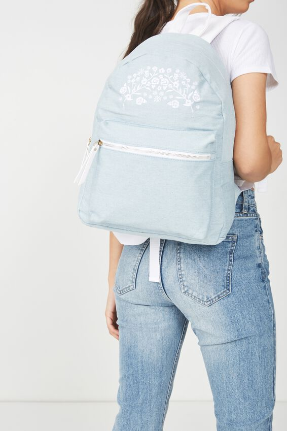 Campus Backpack, CHAMBRAY EMBROIDERY