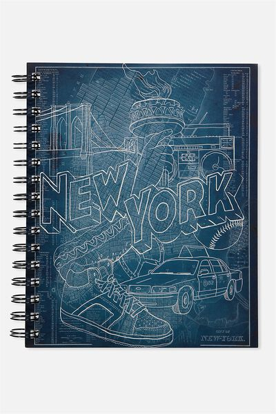 A5 Campus Notebook - 240 Pages, NEW YORK DENIM SKETCH