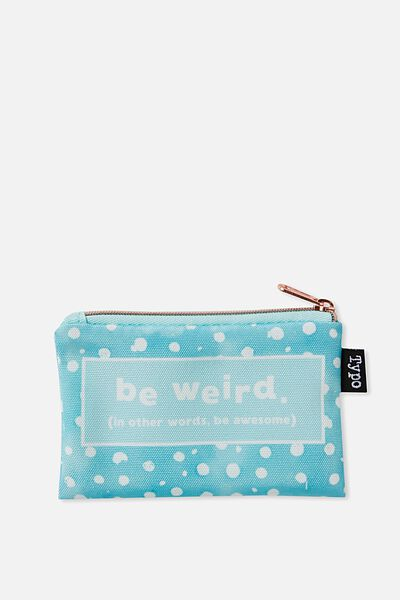 Campus Coin Purse, AQUA POLKA DOT WEIRD