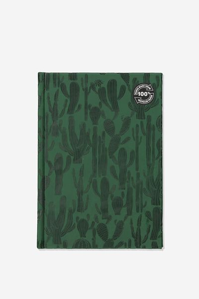 A5 Pu Embossed 100% Recycled Paper Notebook, GREEN CACTUS