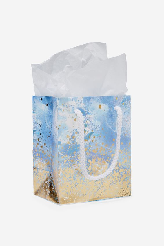 Stuff It Bag Extra Small With Tissue Paper, BLUE MARBLE & GOLD SPRAY