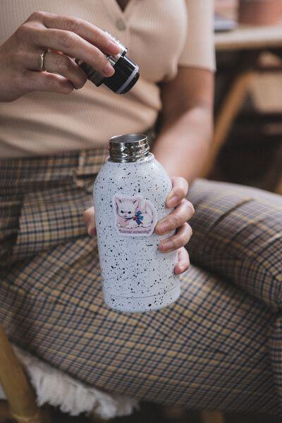 Mini Metal Drink Bottle, WHITE WITH BLACK SPLATTER