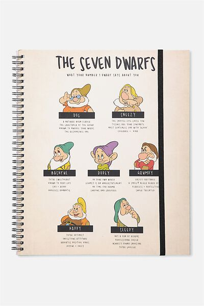 College Ruled Spinout Notebook V, LCN SNOW WHITE 7 DWARVES
