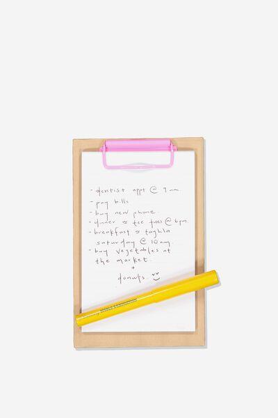 A5 Clipboard And Pen Set, CRAFT/PINK/MUSTARD