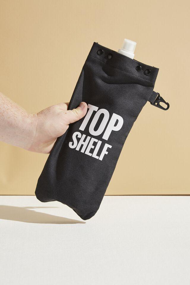Drip Canvas Flask, BLACK TOP SHELF