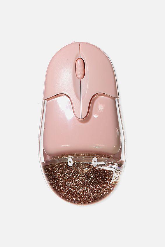 Shake It Wireless Mouse, BLUSH/ROSE GOLD GLITTER