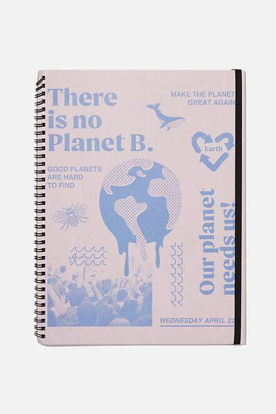 A4 Spinout Notebook Recycled, OUR PLANET NEEDS US