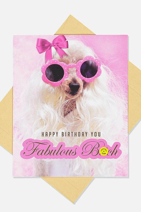 Funny Birthday Card, PINK BOW FABULOUS BITCH