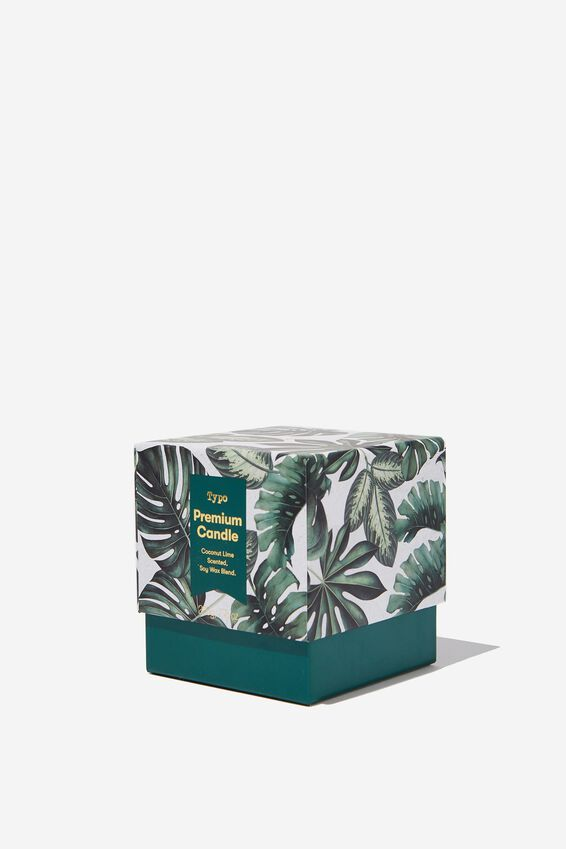 Coconut Lime Premium Candle, PALM PRINT