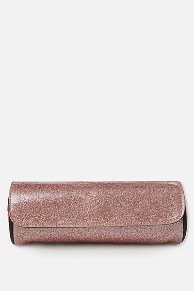 Roll Up Cosmetic Bag, ROSE GOLD SPARKLE