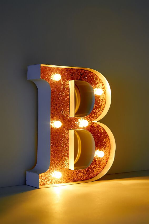 Marquee Letter Lights Premium 16cm Midi, WHITE WITH ROSE GOLD B