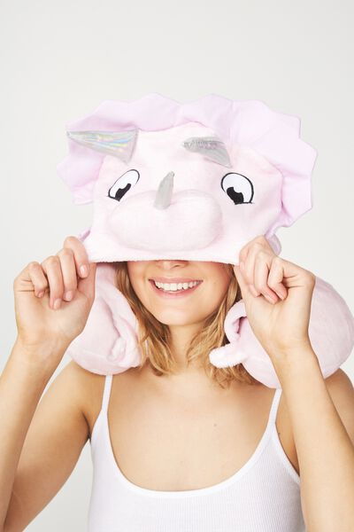 Hooded Travel Neck Pillow, TRICERATOPS