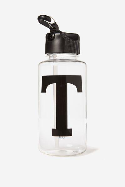 Alphabet Drink Bottle, BLACK T