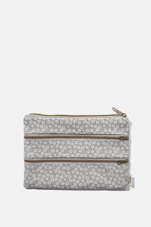 Double Campus Pencil Case, STAMPED DAISY GREYSCALE