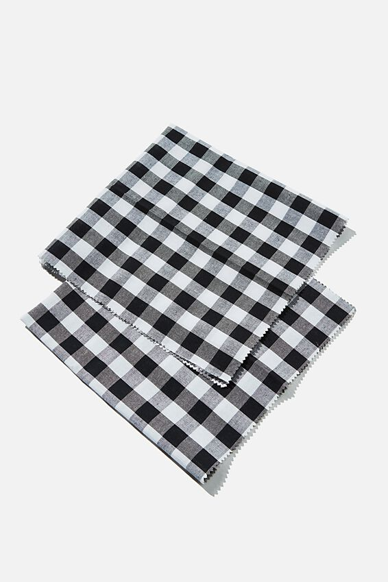 Fabric Wrapping Pack Medium 2Pk, BLACK WHITE GINGHAM