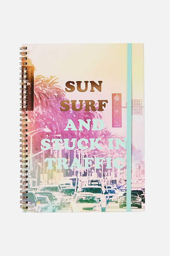 Large Spinout Notebook 11x8inch, SUN SURF & STUCK IN TRAFFIC
