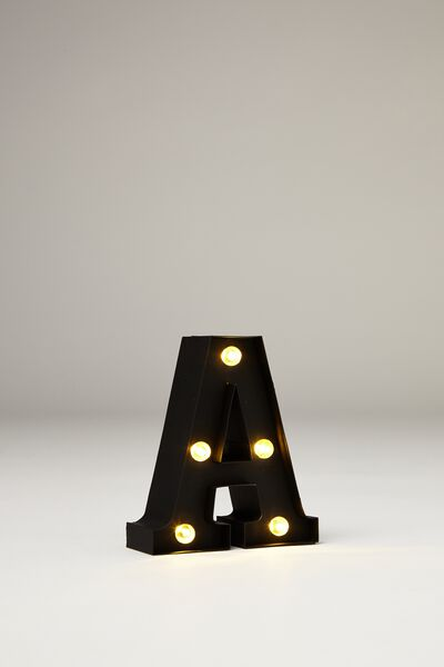 Mini Marquee Letter Lights 10cm, BLACK RUBBER A