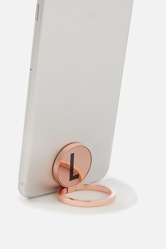 Metal Alpha Phone Ring, ROSE GOLD L