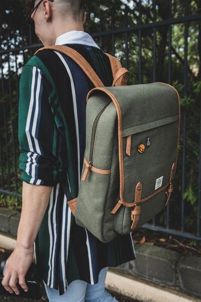 Heritage Backpack, WASHED KHAKI W MID TAN
