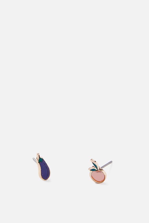 Novelty Earrings, EGGPLANT PEACH
