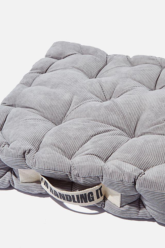 Floor Cushion, COOL GREY CORDUROY