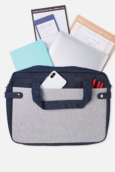 Varsity Laptop Bag, DENIM & GREY
