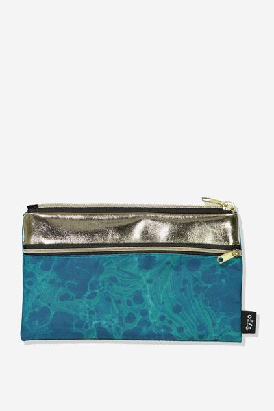 Archer Pencil Case, GREEN MARBLE