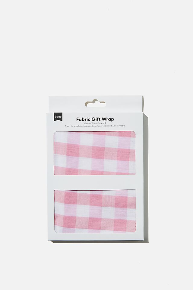 Fabric Wrapping Pack Medium 2Pk, PINK GINGHAM