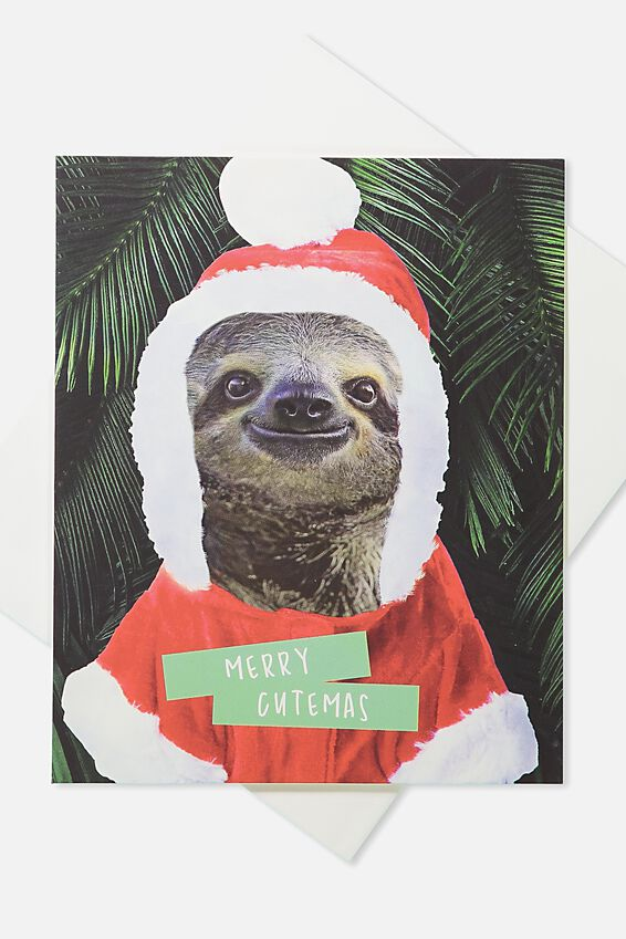 2018 Christmas Card, MERRY CUTEMAS SLOTH
