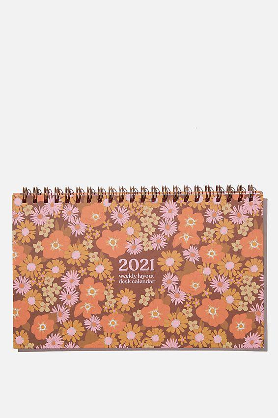 2021 Wide Desk Calendar, STEVIE FLORAL