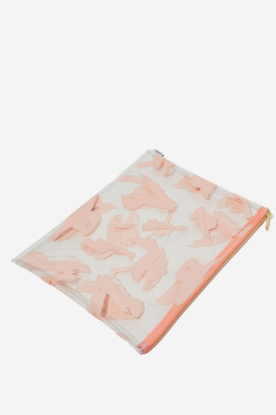 Printed Document Wallet, PINK SWISH