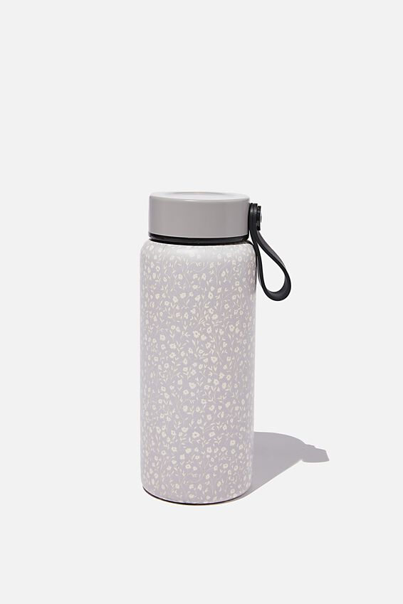 On The Move Metal Drink Bottle 350Ml, COOL GREY MEADOW DITSY