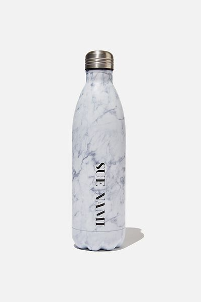 Personalised 1L Metal Drink Bottle, BLACK & WHITE MARBLE