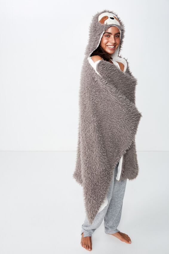 Novelty Hooded Blanket, GREY FURRY SLOTH