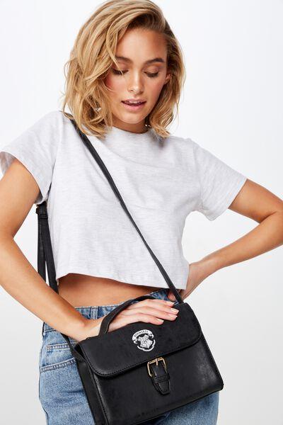 Mini Nuevo Satchel Bag, LCN WB BLACK HARRY POTTER EMBLEM