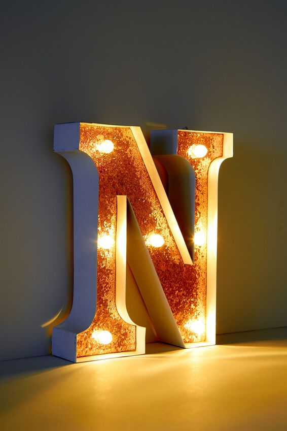 Marquee Letter Lights Premium 6.3inch Midi, WHITE WITH ROSE GOLD N