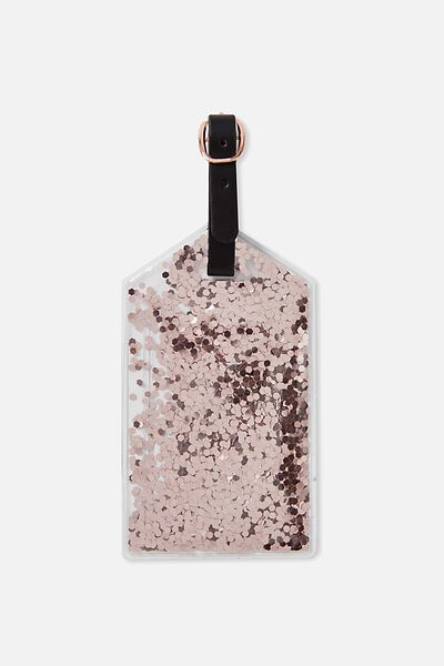 Glitter Filled Luggage Tag, ROSE GOLD GLITTER