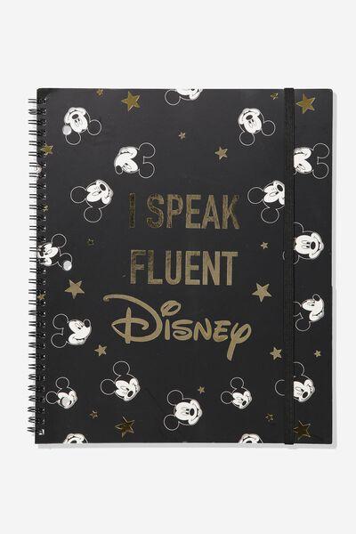 College Ruled Spinout Notebook V, LCN SPEAK FLUENT DISNEY HEADS