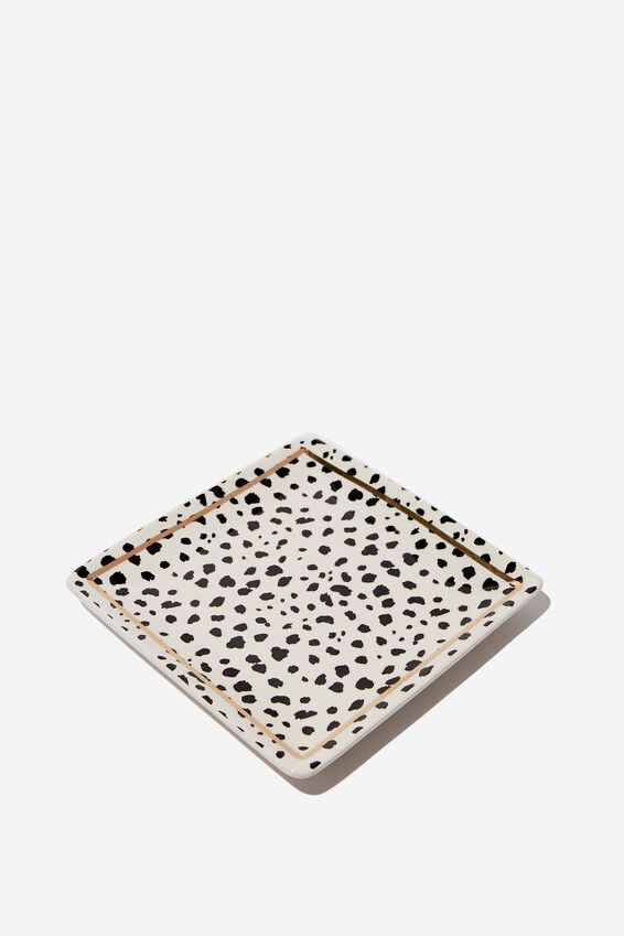 Novelty Trinket Tray, WHITE & BLACK POLKA