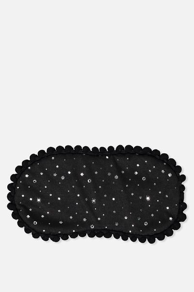 Easy On The Eye Sleep Mask, BLACK STARS AND POM POMS