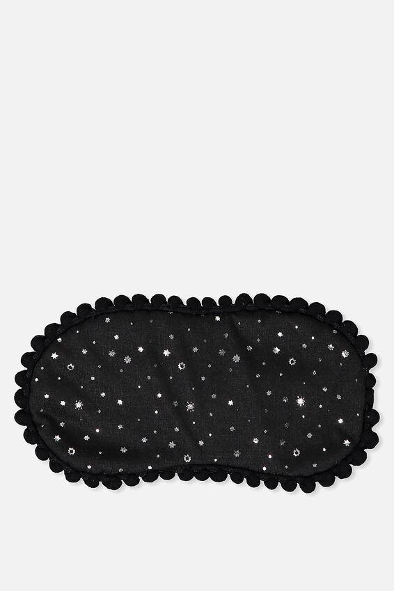 Easy On The Eye Sleep Mask, BLACK STARS AND POM POMS